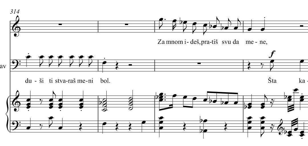 Opera piano reduction – vocal score